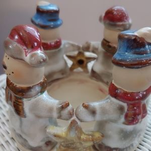 Candle Holder 4 Snowmen holding hands